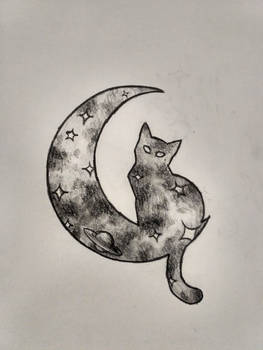 Space cat tattoo design (traditional)