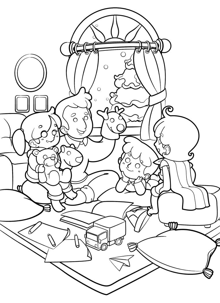 Commission: Chris Burns' Family Lineart by Brownez-Koekoez