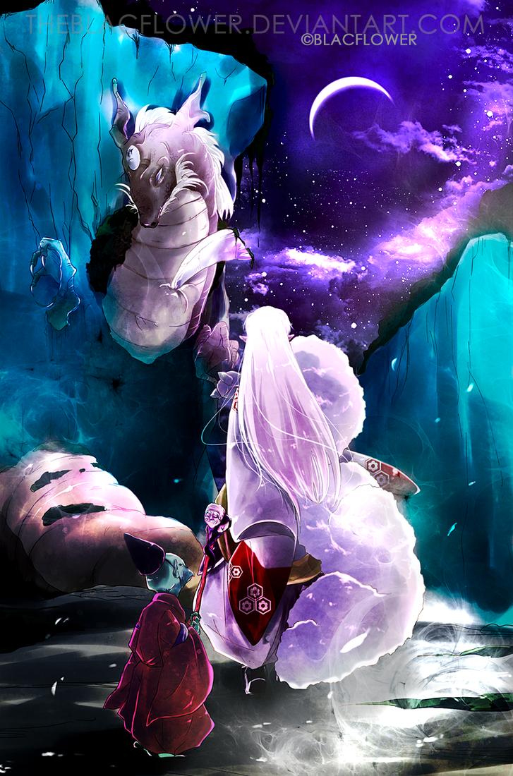 sesshomaru_dragon purpleblue by theBlacFlower
