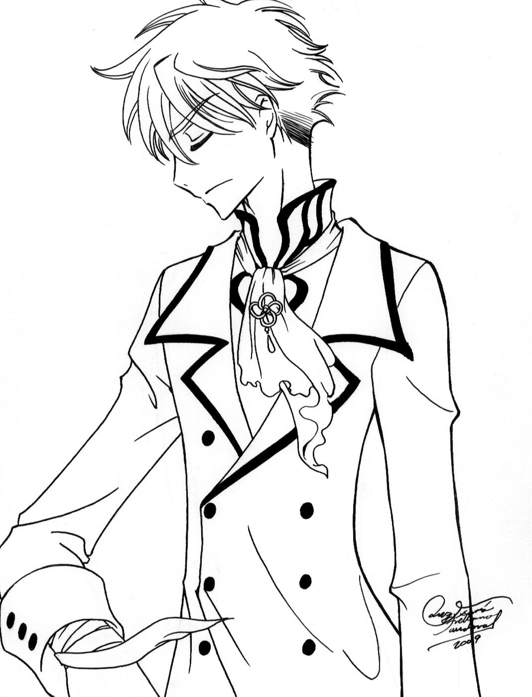 Hermosa Chico De Anime Para Colorear Composición - Dibujos Para ...