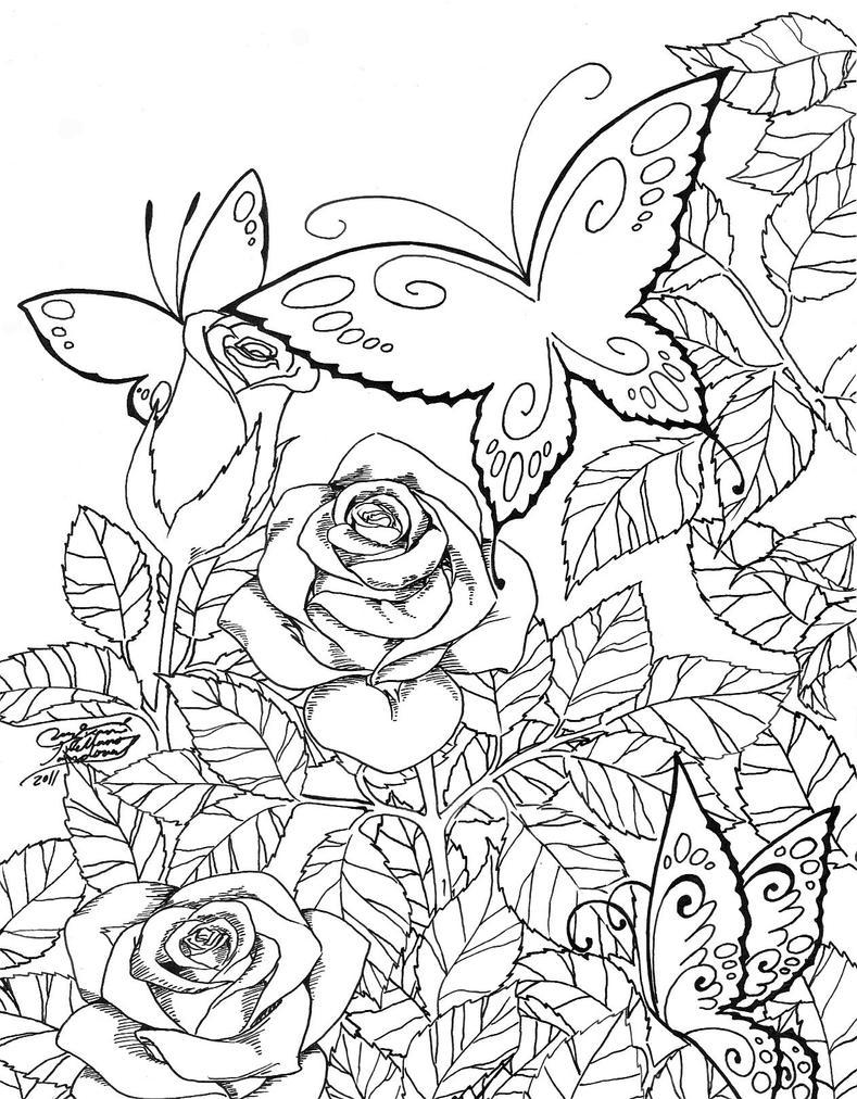 Line Drawing Garden : Butterfly garden by lucymerychan on deviantart