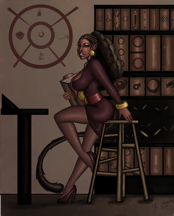 Ebony in her study