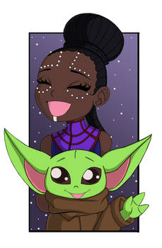 Chibi shuri and baby yoda.