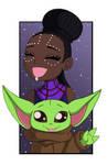 Chibi shuri and baby yoda. by ebony-chan