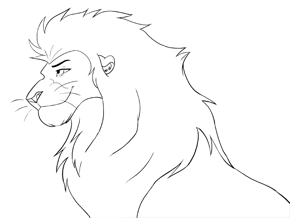 Line Art Lion : Free lineart head male lion by malaika on deviantart