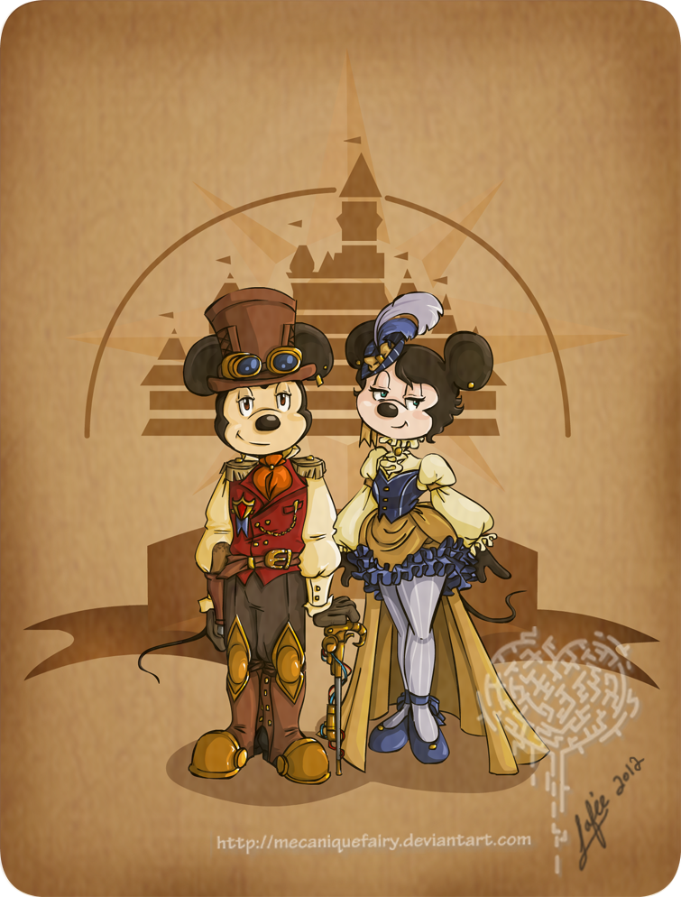 Ilustraciones steampunk Disney_steampunk__mickey_et_minnie_by_mecaniquefairy-d4qti6g