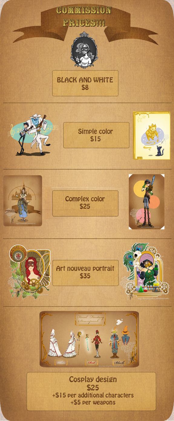 Prices for commissions! by MecaniqueFairy