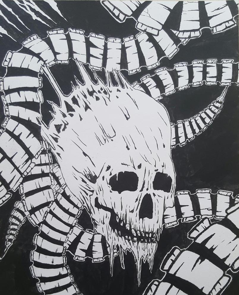 Skull with Bonetubes by nikojab