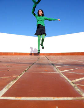 Flying green girl
