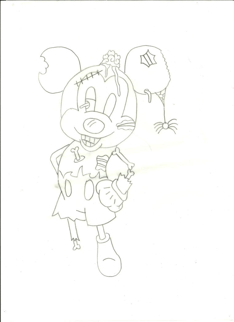 Line Art Mickey Mouse : Zombie mickey mouse line art by finalfantasy zelda on