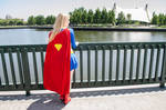 Outside the Hall of Justice: Super GIrl