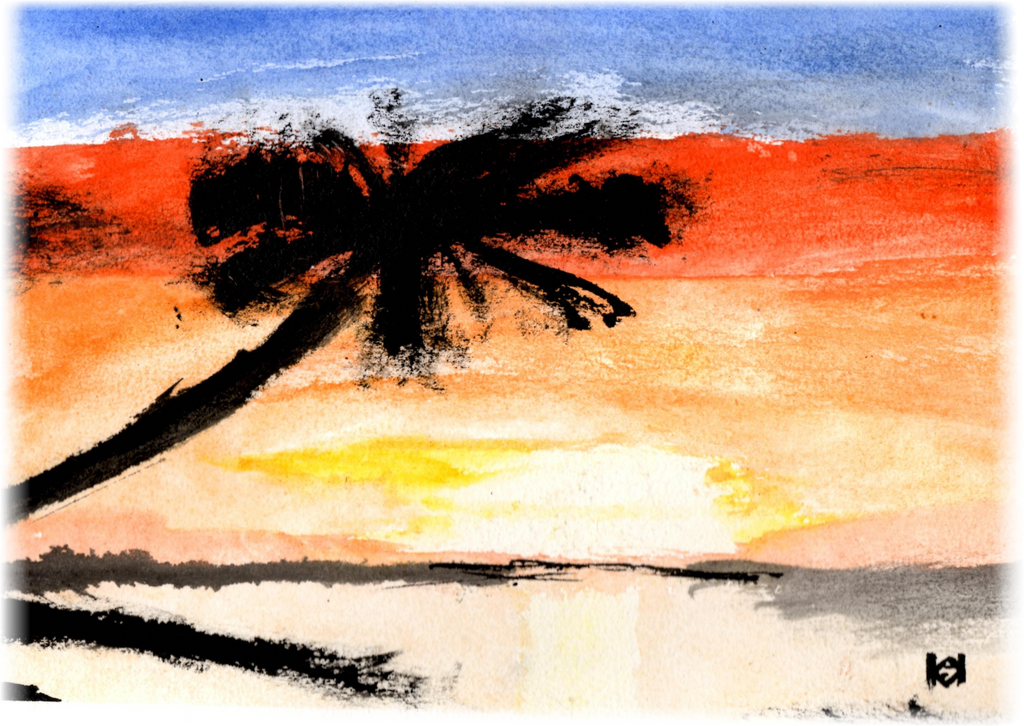 Island Sunset - Watercolor by SalaComMander