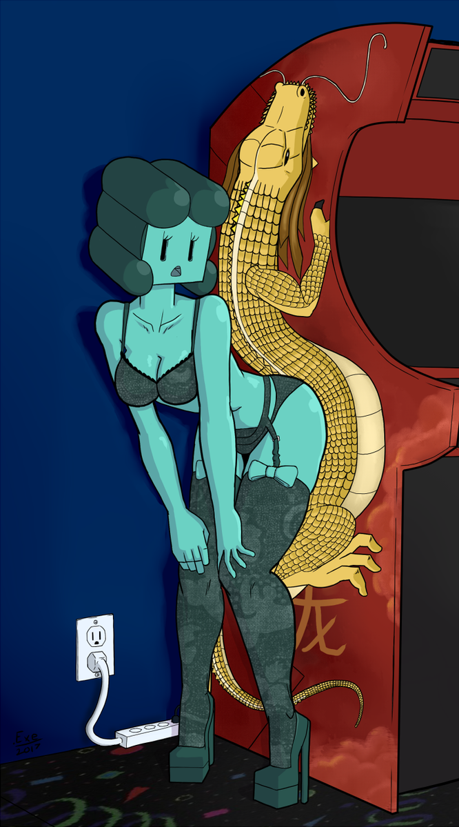 Miss Color Pin-Up at the Arcade by QuietStealth