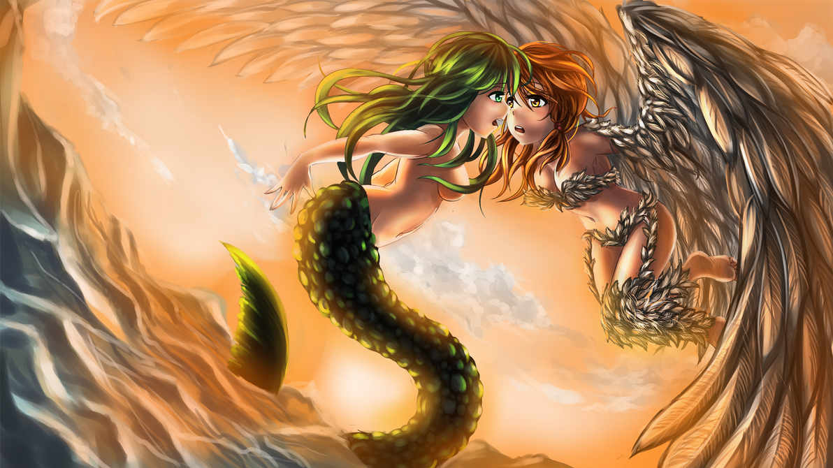 Mermaid and Harpy by moerden