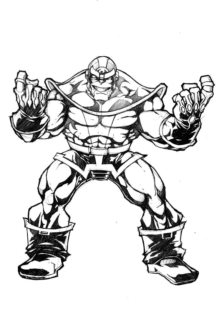 Marvel Thanos Coloring Pages Sketch Page