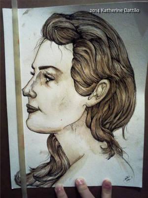 Sepia Girl Side Portrait by KatTheGrrreat