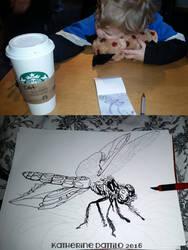Inktober Day 6 Wip Dragonfly by KatTheGrrreat