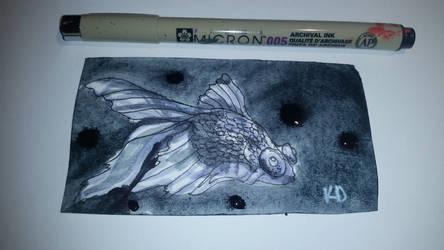 Inktober day 12 mini drawing of a Fishy by KatTheGrrreat