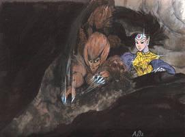 Troll and Molemen by LoopyWolf