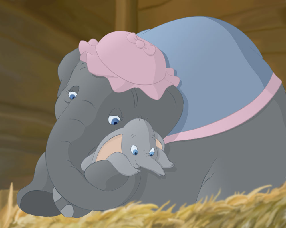 This is a graphic of Playful Pictures of Dumbo the Elephant