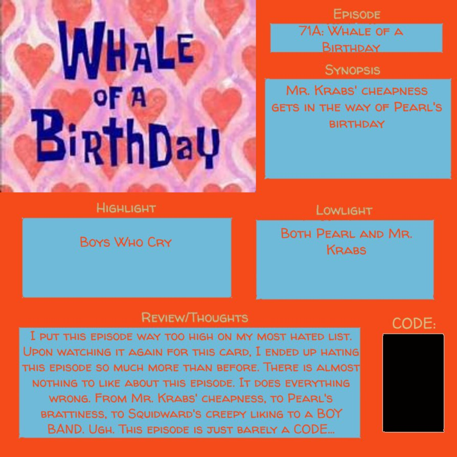 Spongebob Episode 71A (S4 E19) WHALE OF A BIRTHDAY by