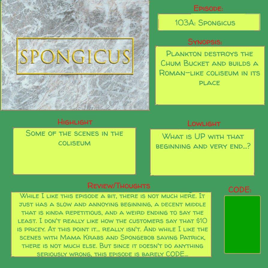 Spongebob Episode 103a S6 E5 Spongicus By Vengefulvulpine On