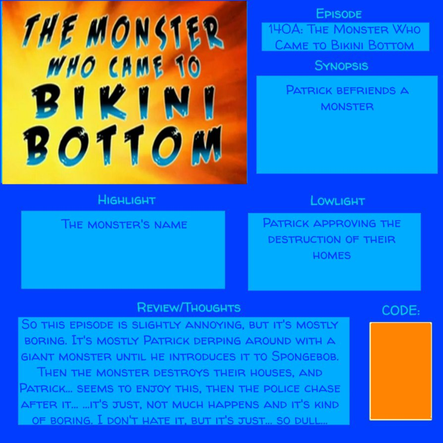 Spongebob Episode 140A (S7 E26 )MONSTER CAME TO BB by