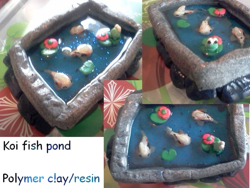 Koi fish pond polymer clay resin by brasspikachu on for Clay fish pond