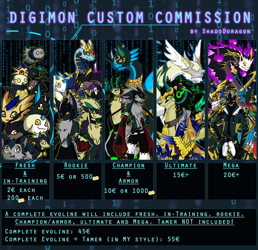 Digimon Custom Point/Cash Commissions OPEN by ShadoDoragon