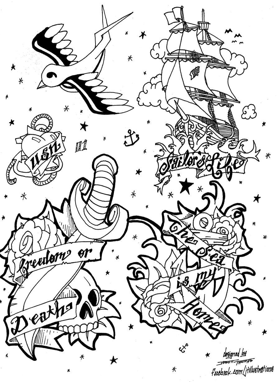 Tattoo flash page 01 commission by jtillustrations on deviantart