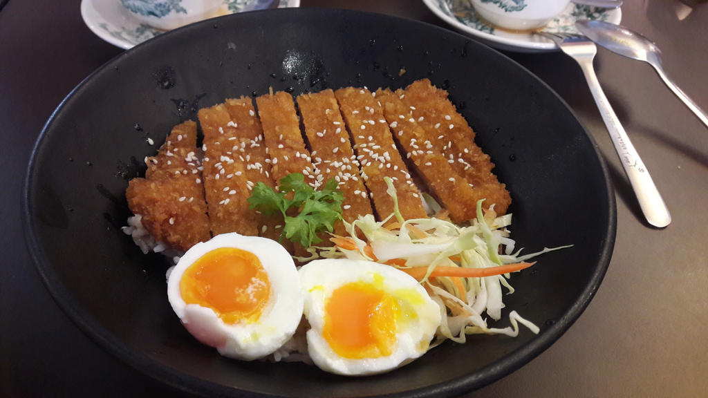 random Japanese style bowl rice with fried pork by Deviljackies