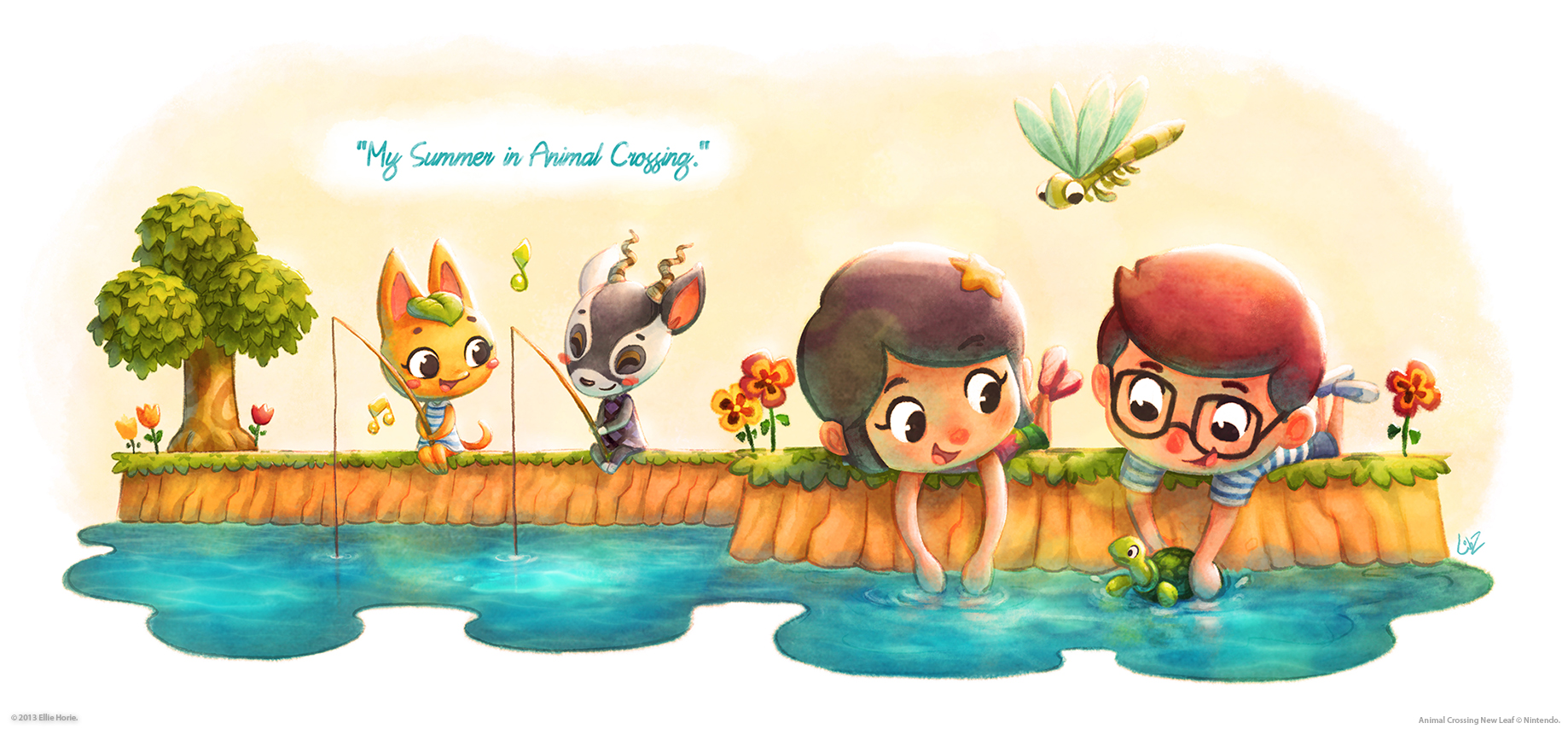 My summer in animal crossing by lilibz on deviantart for Animal crossing mural
