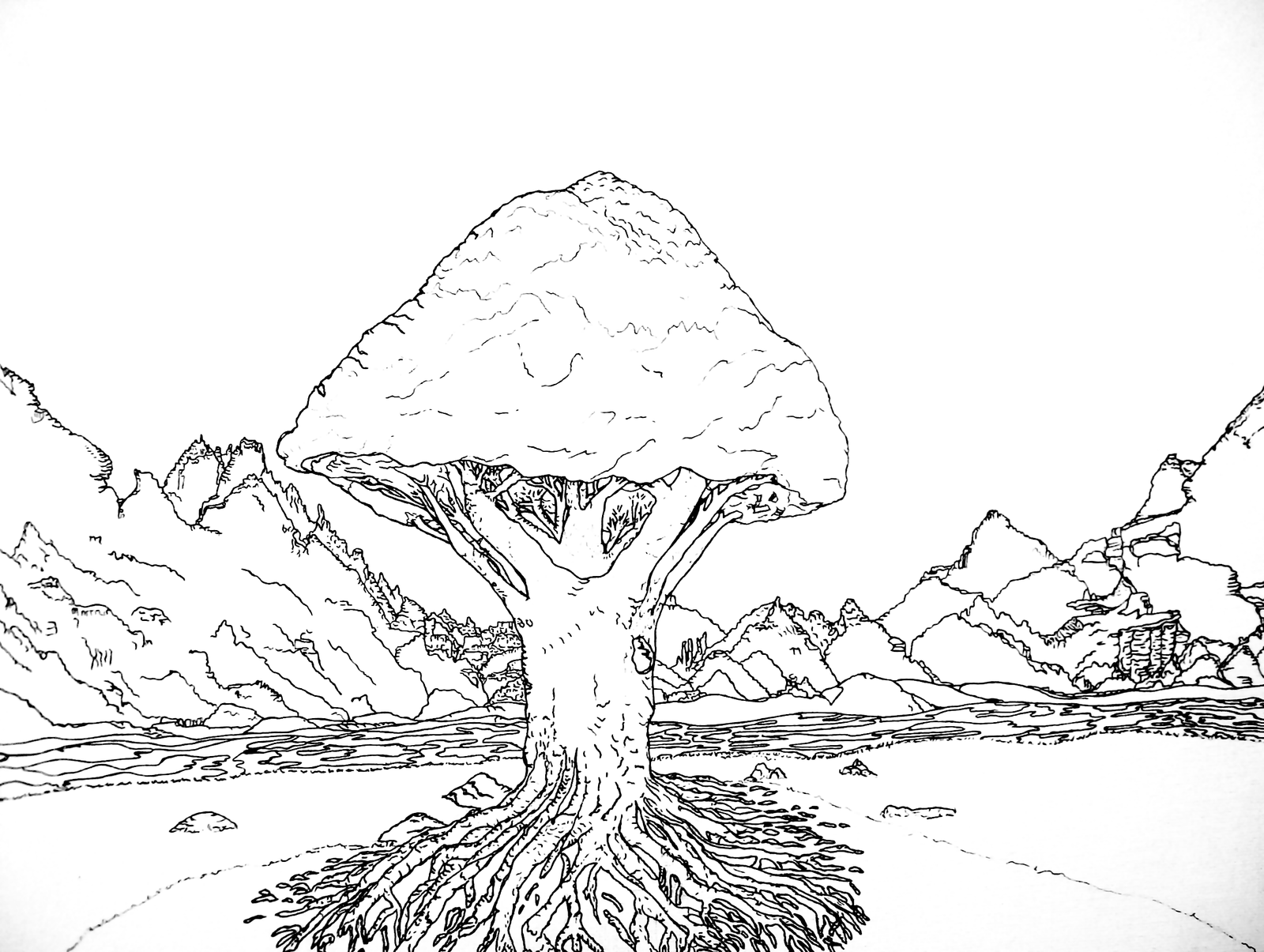 Line Drawing Tree : Stock line art tree of life by analillithbar on