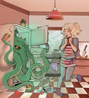 cthulhu in my fridge! by JigokuNeko