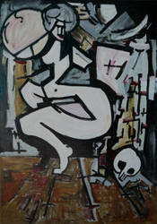 Nudity with wine and skull by didimos