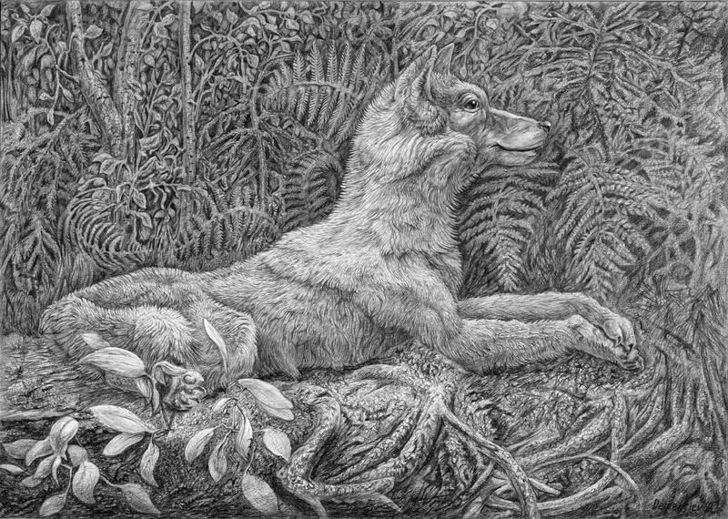 Wolf rests in the forest by AldemButcher