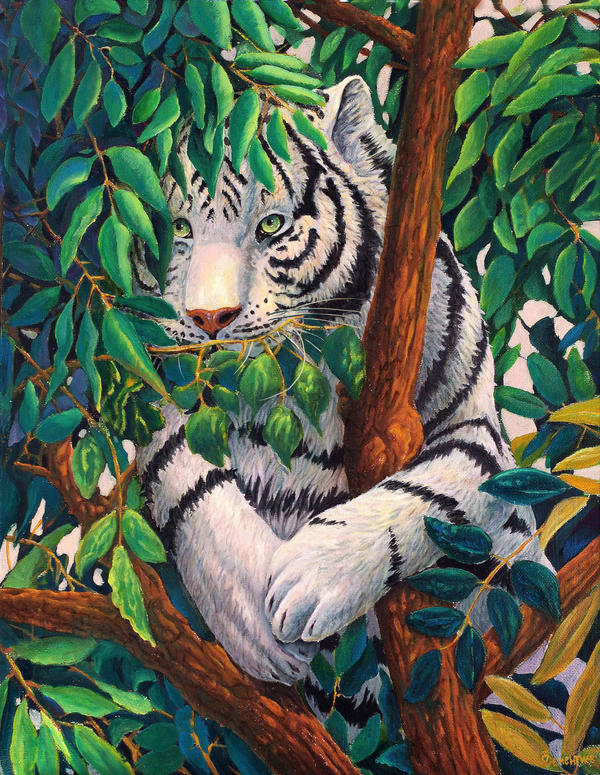 White tiger in leaves by AldemButcher