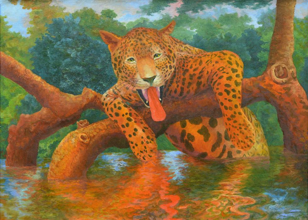 Content Leopard Shows His Tongue by AldemButcher