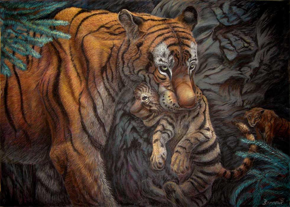 Tigress with cub by AldemButcher