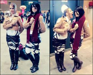 Mikasa and Sasha by xLEECH