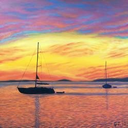 Sunset from Oak Island Cove