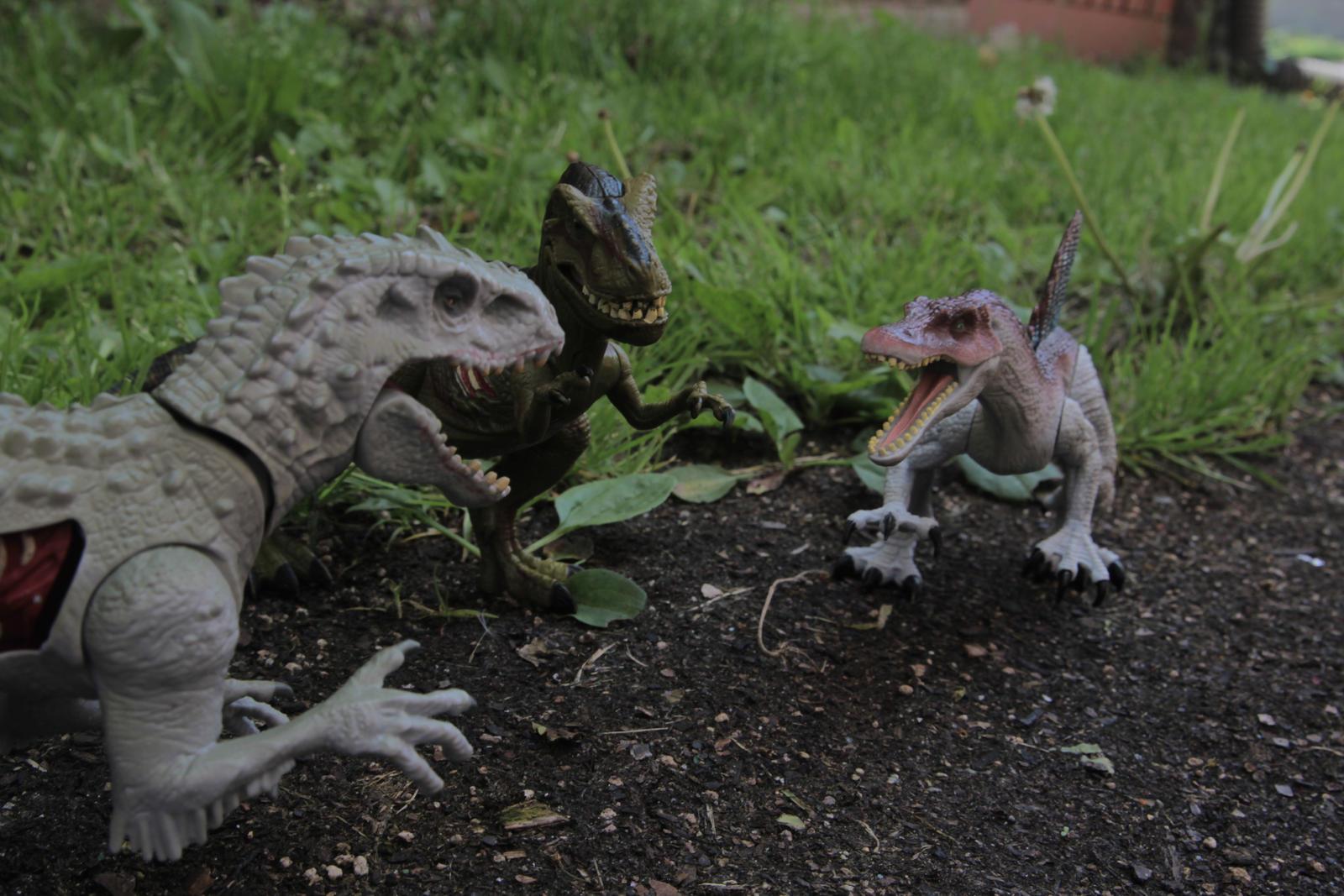 Dino Wall Stickers Indominus Rex Vs Tyrannosaurus Rex Vs Spinosaurus By