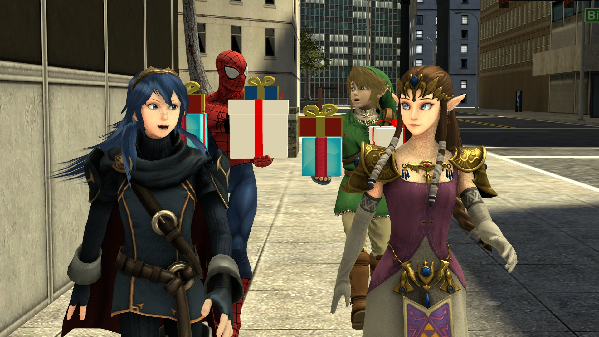 Zelda and Lucina take Spider-Man and Link shopping by ...