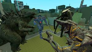 Godzilla and Gipsy Danger vs  Muto and Knifehead