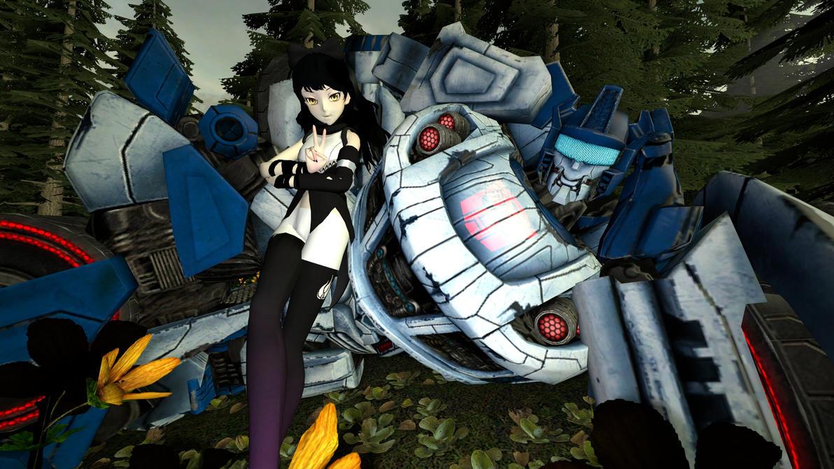 Blake Belladonna and Autobot Jazz chillin by kongzillarex619