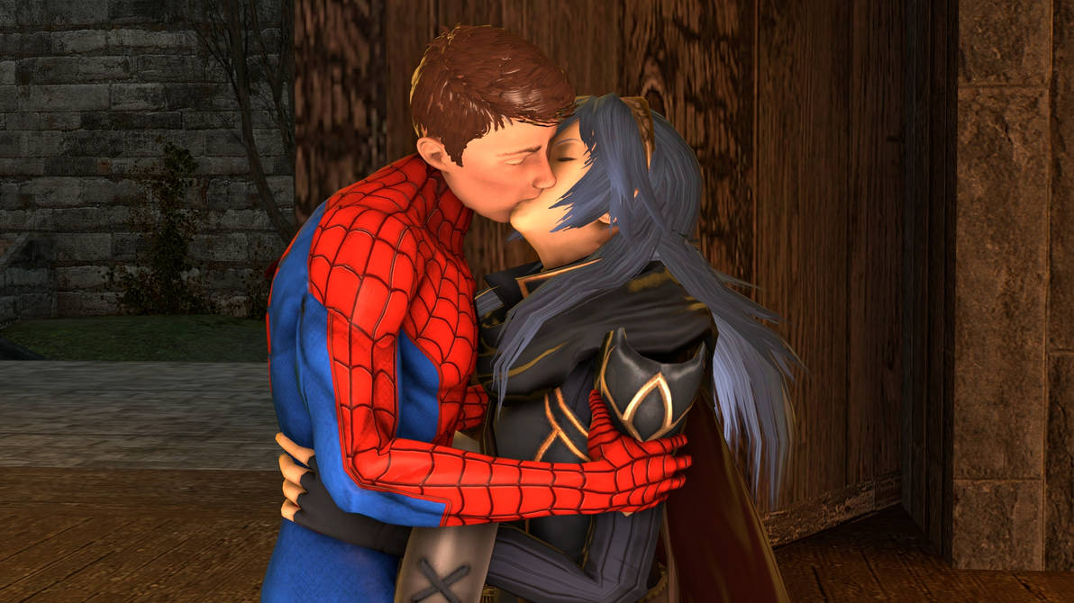 Lucina and Spider-Man : Evening kiss by kongzillarex619 on