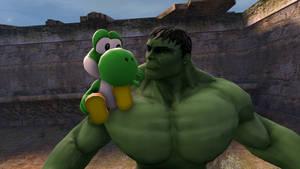 Yoshi meets the Hulk