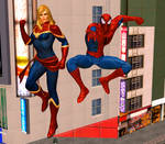 Captain Marvel and Spider-Man team up