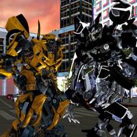 Bumblebee vs Barricade by kongzillarex619