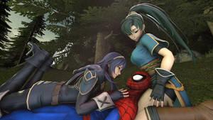 Three heroes relaxing